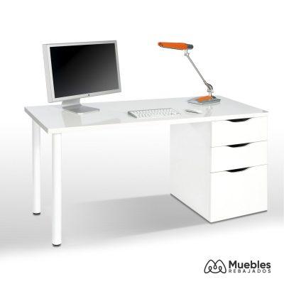 mesa de escritorio blanca 3 cajones 004604a