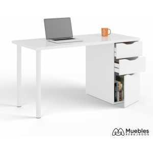 mesa de escritorio blanca cajones 004604a