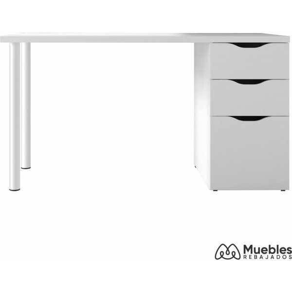 mesa de escritorio blanca con cajones 004604a