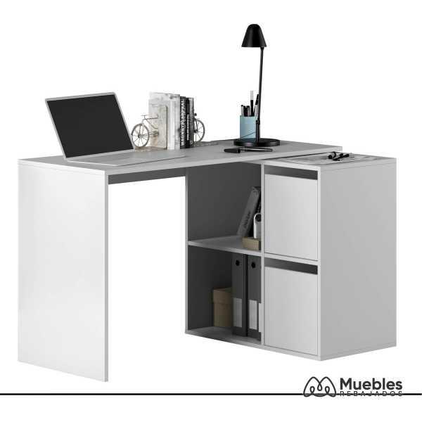 mesa de oficina blanca con cubos 008311a