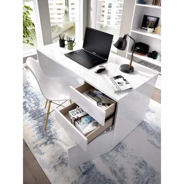 mesa escitorio blanco brillo 2 cajones y 1 puerta 1
