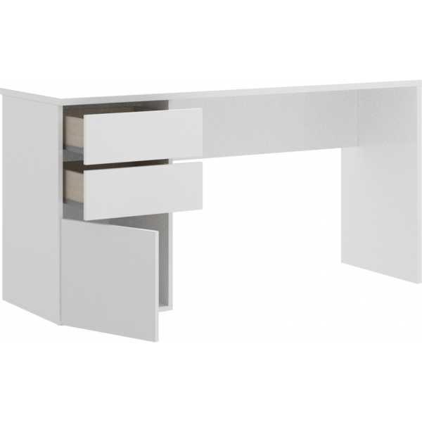 mesa escitorio blanco brillo 2 cajones y 1 puerta 2