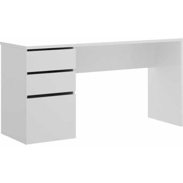 mesa escitorio blanco brillo 2 cajones y 1 puerta 3