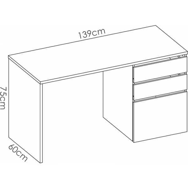 mesa escitorio blanco brillo 2 cajones y 1 puerta