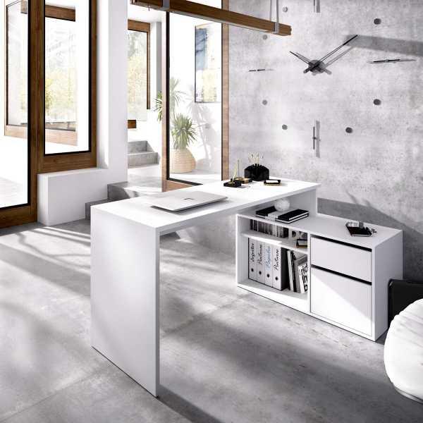 mesa escritorio blanco en forma de l 4