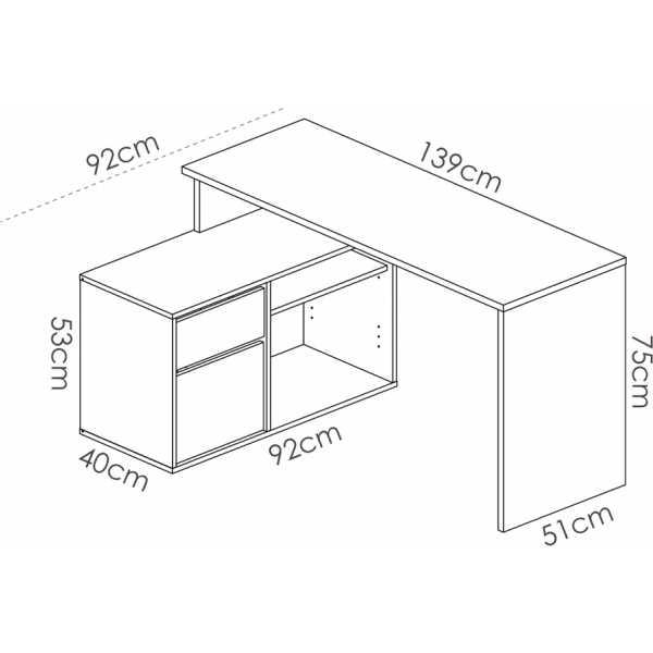 mesa escritorio blanco en forma de l