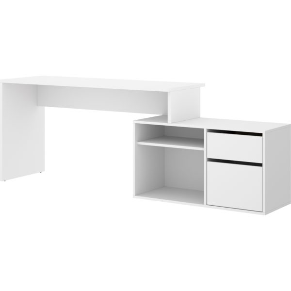 mesa escritorio blanco en forma de l 8