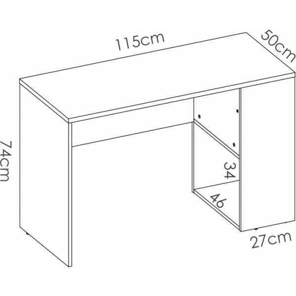 mesa escritorio con estante y 1 cajon 5