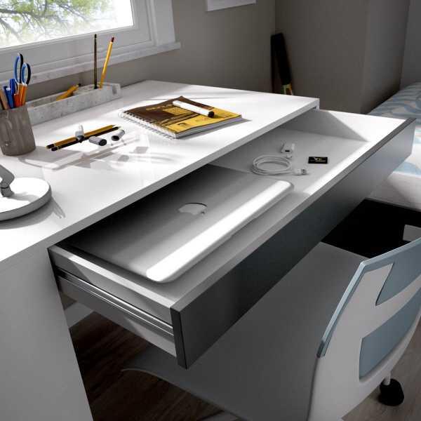 mesa escritorio con estante y 1 cajon