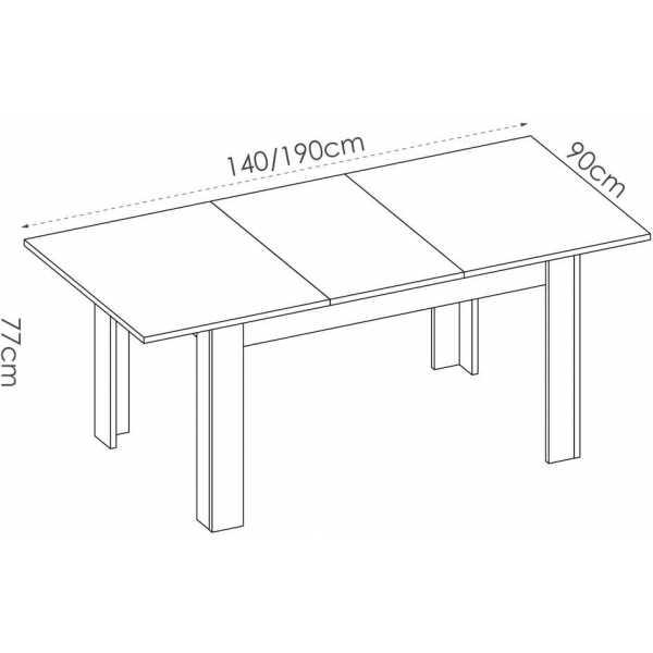 mesa extensible blanco brillo de comedor 140 190 cm 2