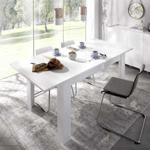 mesa extensible blanco brillo de comedor 140 190 cm 3