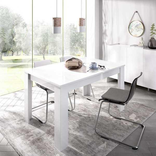 mesa extensible blanco brillo de comedor 140 190 cm