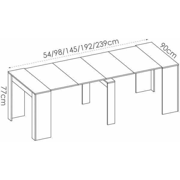 mesa extensible gris con 5 posiciones