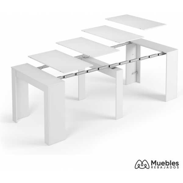 mesas de comedor modernas extensibles blanco brillo 5 en 1 004580bo