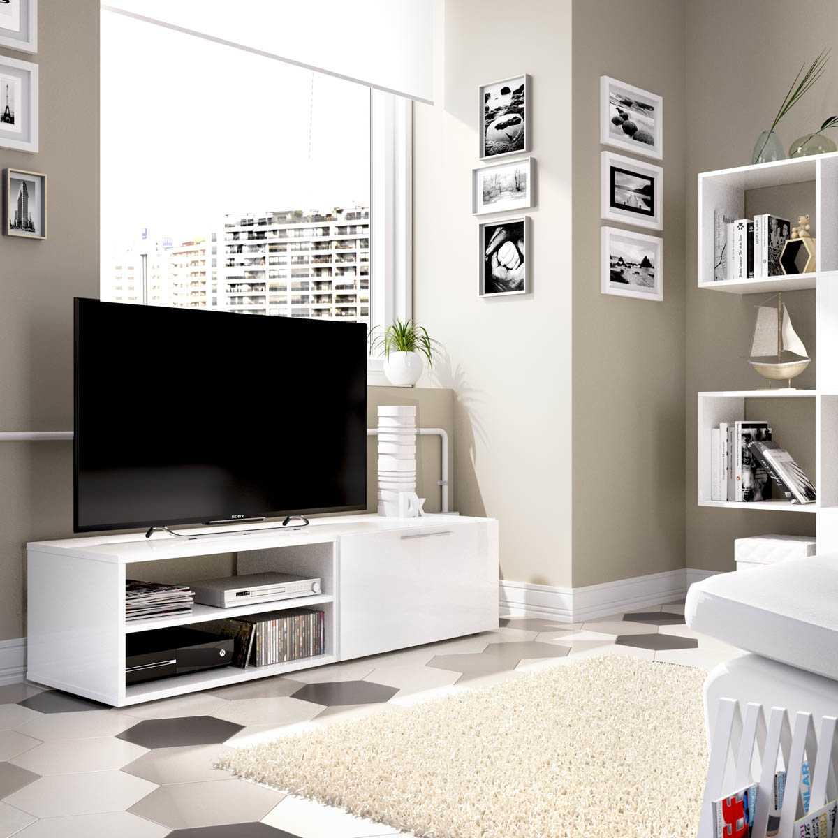 mueble bajo tv blanco brillo 2