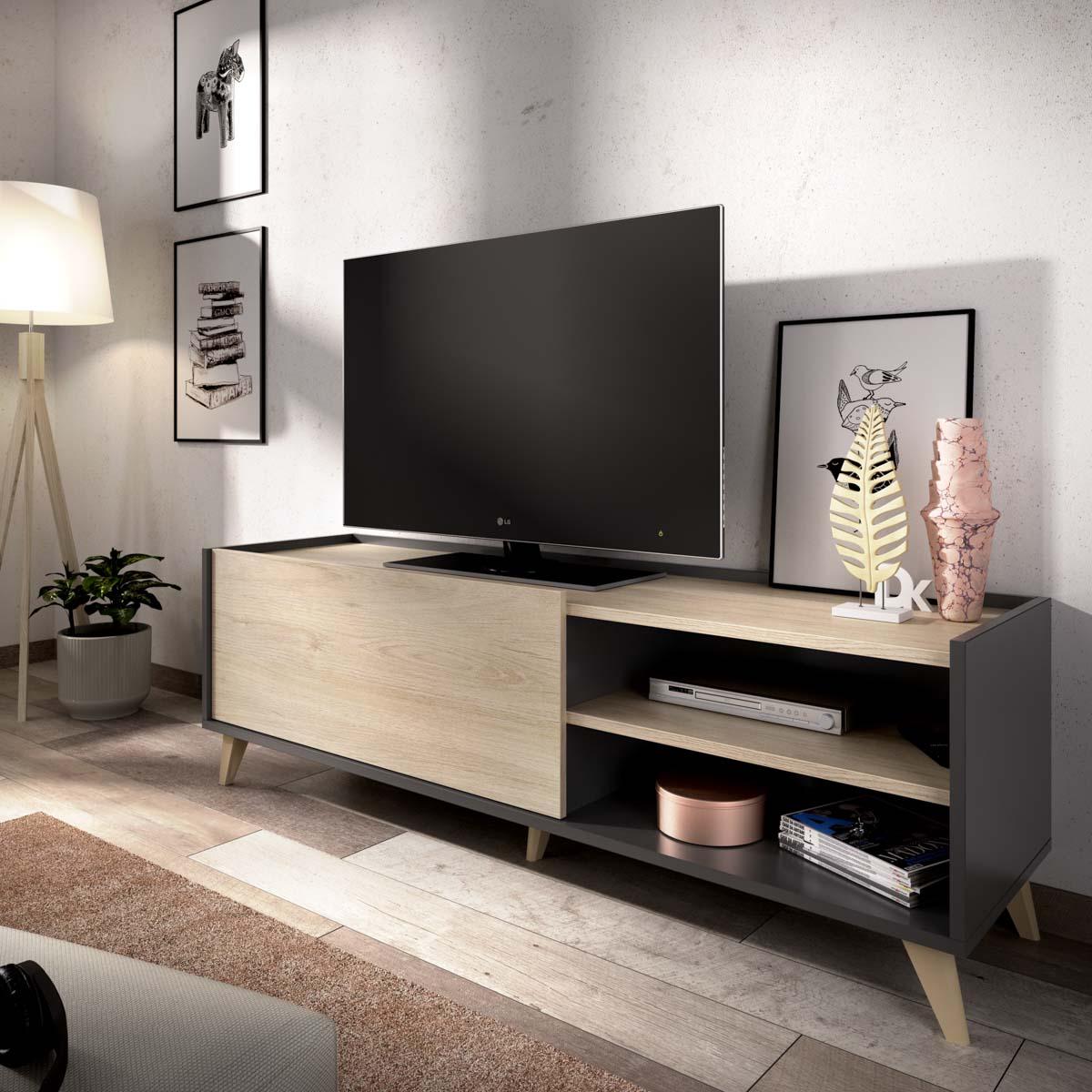 mueble bajo tv grafito 155 cm 3