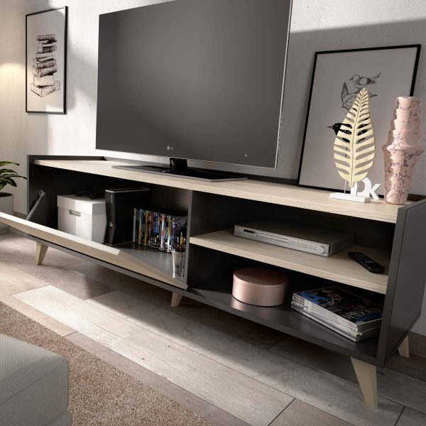 mueble bajo tv grafito 155 cm 4