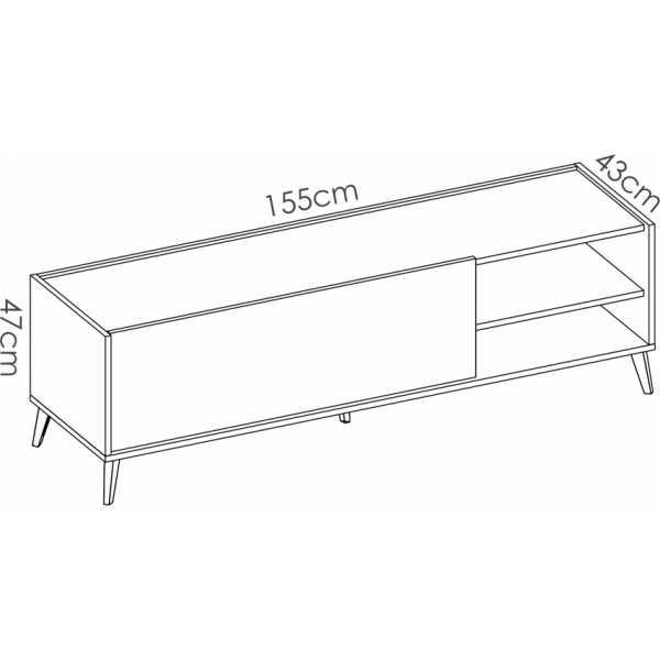 mueble bajo tv grafito 155 cm 5