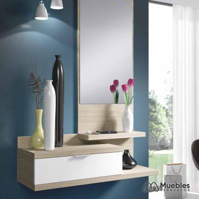 mueble de entrada moderno con espejo 016744w