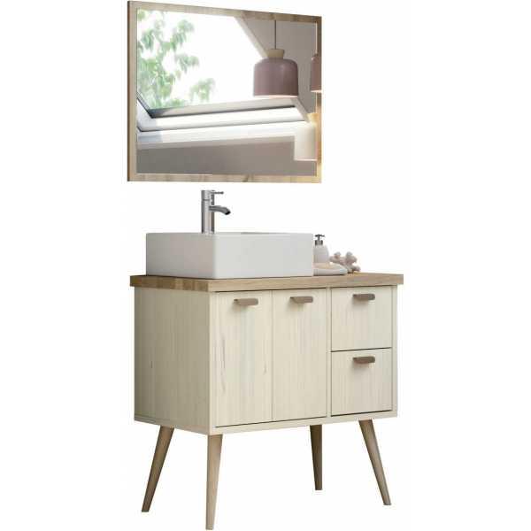 mueble de lavabo con espejo