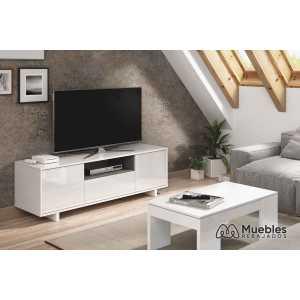 mueble de tv blanco con puertas y balda 0g6631bo