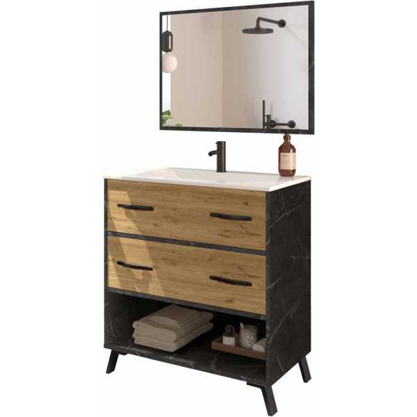 mueble lavabo oscuro