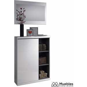 mueble recibidor con zapatero espejo 0g6749bo