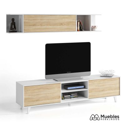 Mueble salon blanco y madera 0f6634bo