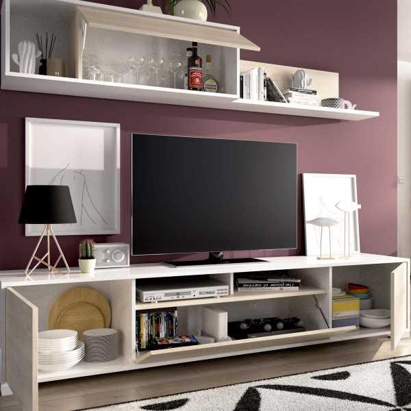 mueble salon con puertas y estante 4