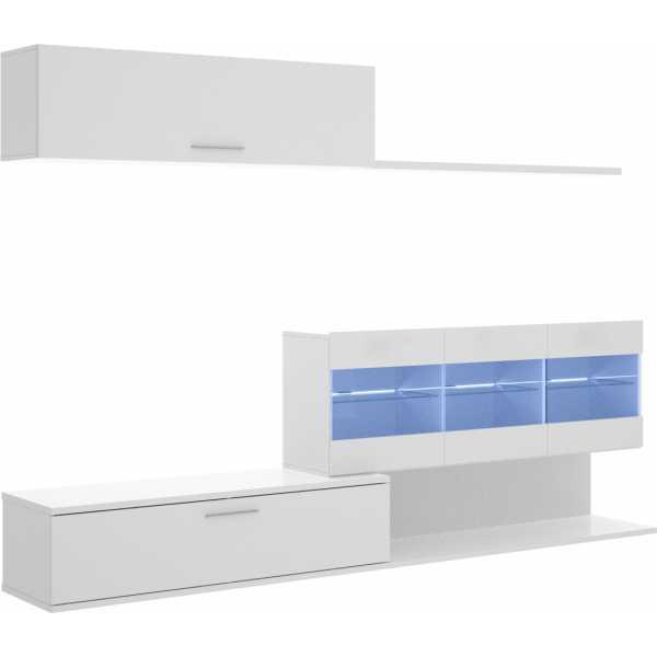 mueble salon tv con vitrina y leds 1