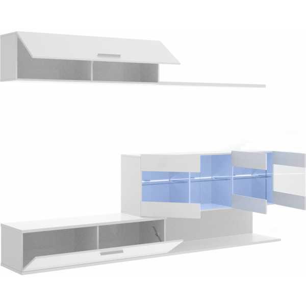 mueble salon tv con vitrina y leds 2