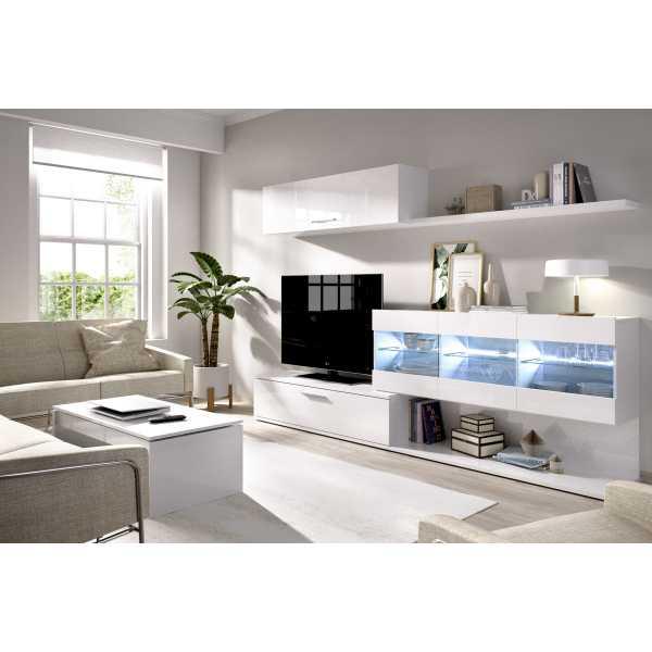 mueble salon tv con vitrina y leds 3