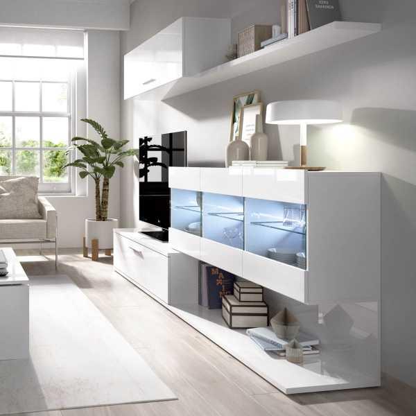 mueble salon tv con vitrina y leds 4