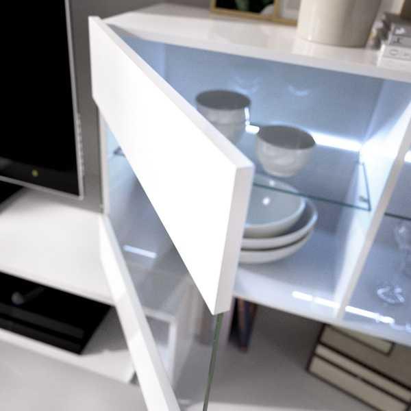 mueble salon tv con vitrina y leds 5