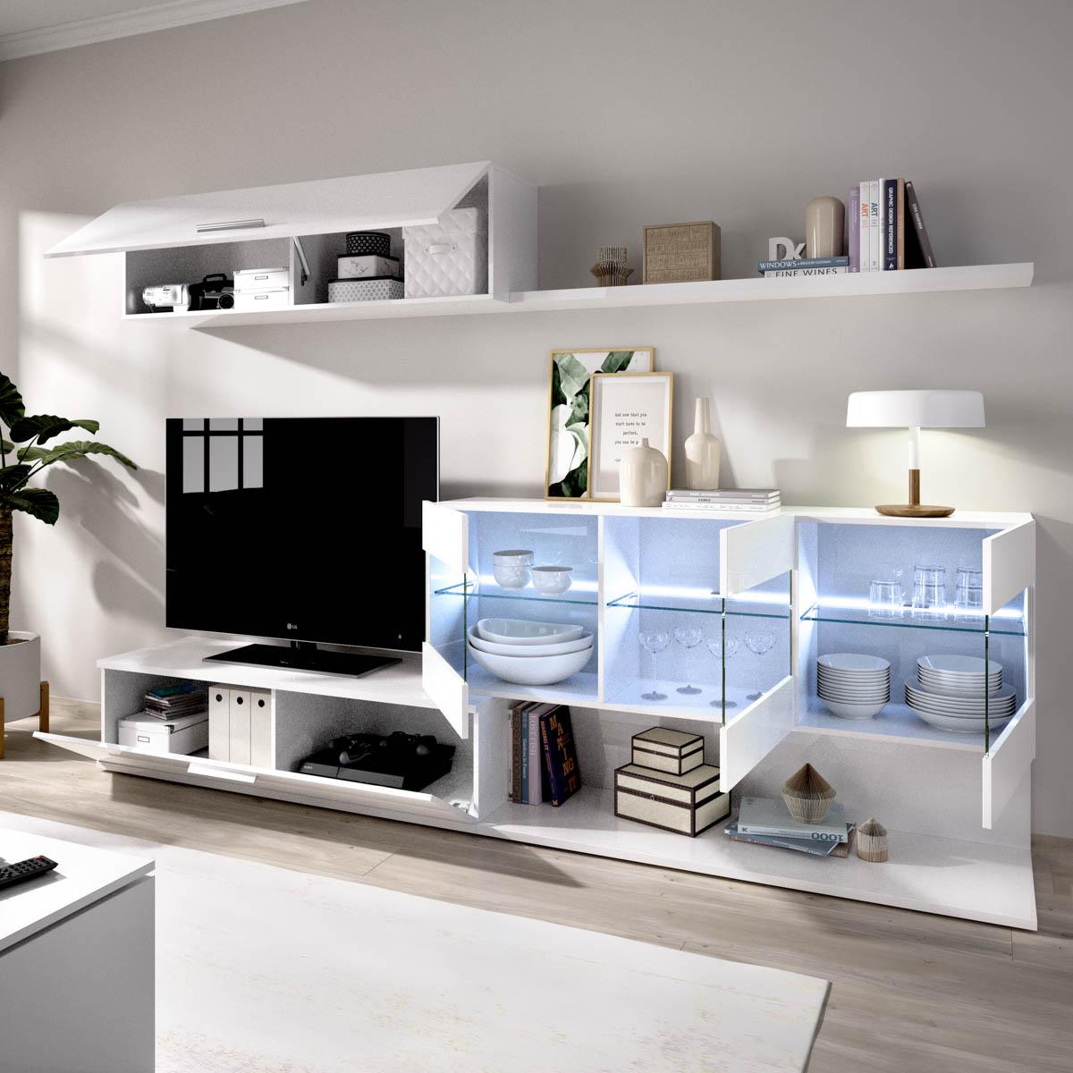 mueble salon tv con vitrina y leds 6