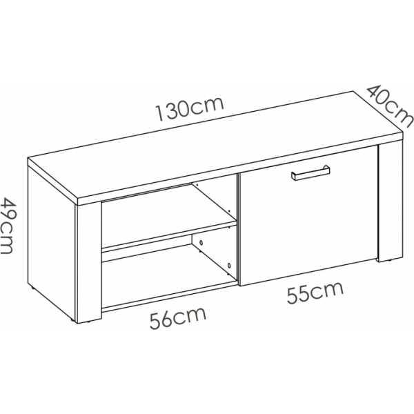 mueble tv 130 cm de 1 puerta milan 5