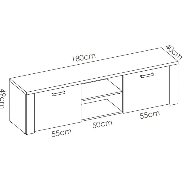 mueble tv 180 cm de 2 puertas milan 5
