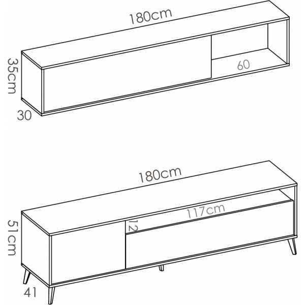 mueble tv 180 cm grafito 5