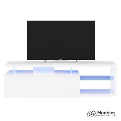 mueble tv con led blanco brillo 026630bo