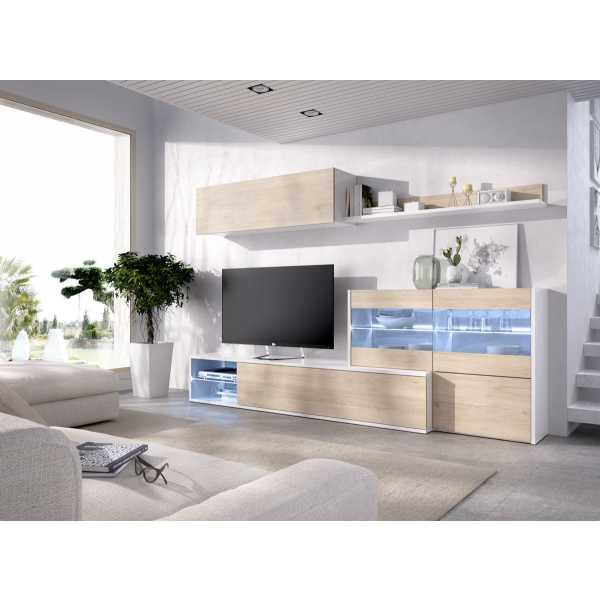 mueble tv con vitrina y leds 1