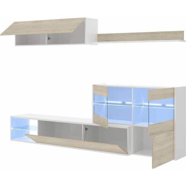 mueble tv con vitrina y leds 10