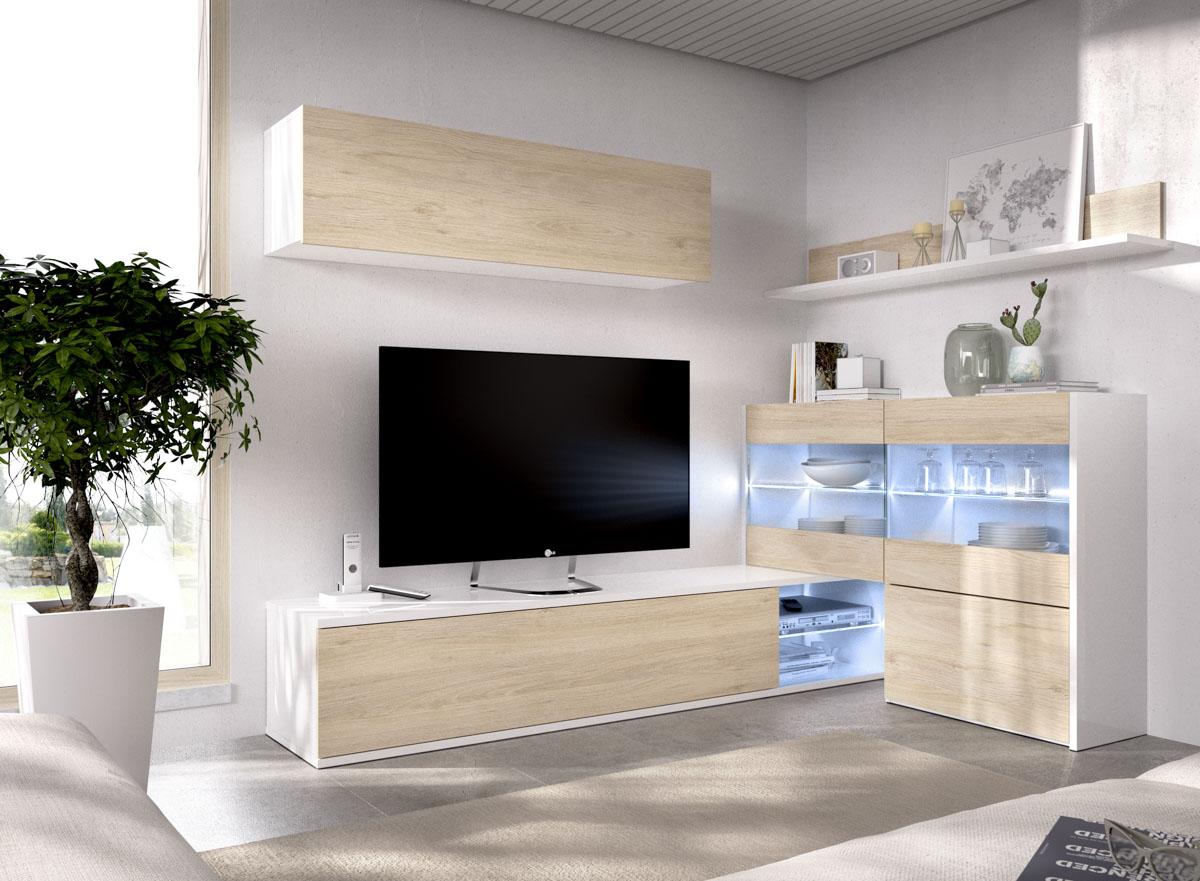 mueble tv con vitrina y leds 12
