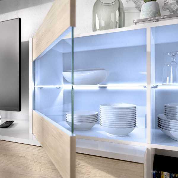 mueble tv con vitrina y leds 3