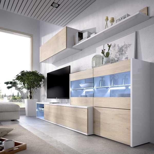 mueble tv con vitrina y leds 4