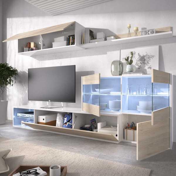 mueble tv con vitrina y leds 5