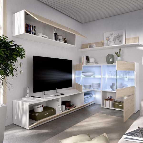 mueble tv con vitrina y leds