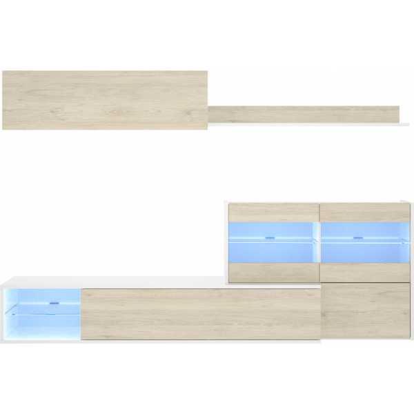 mueble tv con vitrina y leds 8