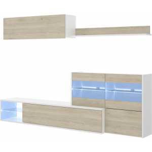mueble tv con vitrina y leds 9