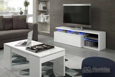 mueble tv led blanco 026630bo