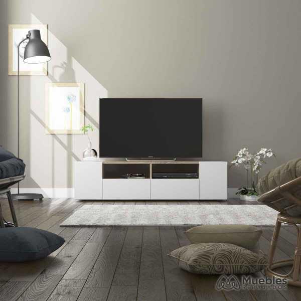 mueble tv madera y blanco 0f6624a